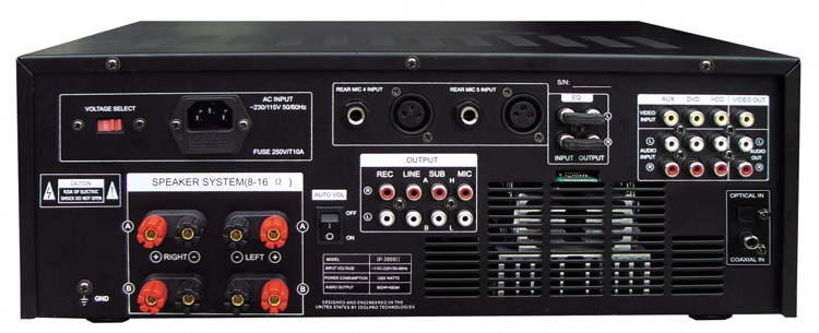 Picture of IDOLpro IP-3800 II 1300W Professional Digital Echo Mixing Amplifier With Optical Input,Separate Repeat & Delay Control